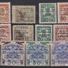 Sellos: 1937 Y 1938 5 SERIES COMPLETAS CANARIAS 4/6*, 8/10*, 11/13*,20/22* Y 31/33* VC 72€. Lote 297061368