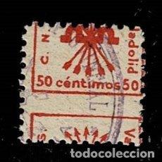 Sellos: CL8-12 GUERRA CIVIL VALLADOLID (C.N.S) FESOFI Nº 6 VALOR 50 CTS. COLOR ROJO VARIEDAD DENTADO MUY DE. Lote 297122373