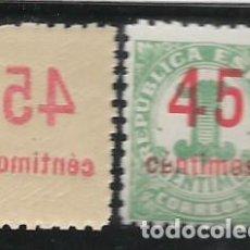 Sellos: REPUBLICA ESPAÑOLA, 45 CTS, VARIEDAD.SOBRECARGA CALCADO EN REVERSO, VER FOTO. Lote 297157543