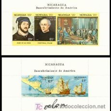 Sellos: NICARAGUA 1988 HB1433/34. CRISTOBAL COLON/MAPA. Lote 7125865