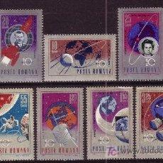 Sellos: RUMANIA 2273/77 Y AEREO 210/13** - AÑO 1967 - 10º AÑOS DE CONQUISTAS ESPACIALES. Lote 22055277