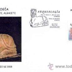 Timbres: ESPAÑA 2008.- PRIMER DIA ARQUEOLOGIA.- VASO DE APOFIS I. ALMUÑECAR GRANADA. BICHA BAZALOTE ALBACETE. Lote 8337847