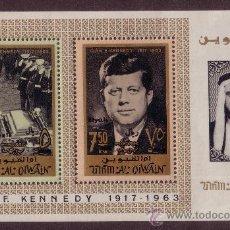 Sellos: UMM AL QIWAIN HB 2*** - AÑO 1965 - ANIVERSARIO DE LA MUERTE DE JOHN F. KENNEDY. Lote 22342779