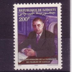 Sellos: DJIBOUTI 670*** - AÑO 1990 - CENTENARIO DEL NACIMIENTO DEL GENERAL CHARLES DE GAULLE. Lote 19047671