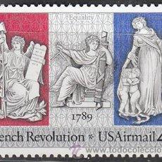Sellos: ESTADOS UNIDOS AEREO (01-20), BICENTENARIO DE LA REVOLUCIÓN FRANCESA, NUEVO. Lote 19545135