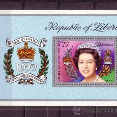 Sellos: LIBERIA HB 86** - AÑO 1977 - 25º ANIVERSARIO DE LA ASCENSION AL TRONO DE ISABEL II. Lote 288229578