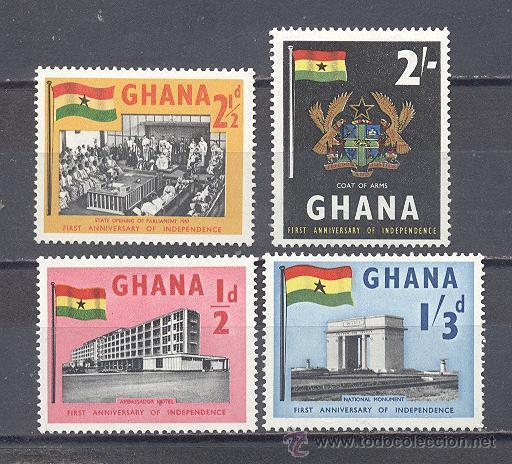 GHANA, 1º ANIVERSARIO DE LA INDEPENDENCIA, USADOS (Sellos - Temáticas - Historia)