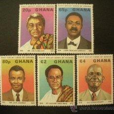 Sellos: GHANA 1980 IVERT 652/6 *** GRANDES PERSONAJES DEL PASADO DE GHANA. Lote 28037991