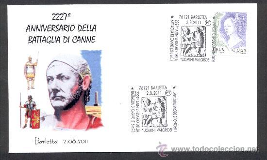 ITALIA 2011 MATASELLO ESPECIAL BATALLA DE CANNA TROPAS DE ROMA Y CARTAGINESES DE ANIBAL BARCA Sellos - Temticas - Historia