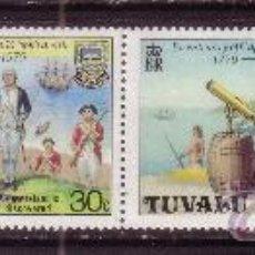 Sellos: TUVALU 111/14*** - AÑO 1979 - BARCOS - BICENTENARIO DE LA MUERTE DEL CAPITAN COOK. Lote 36250000