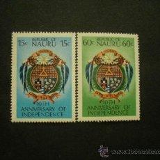 Timbres: NAURU 1978 IVERT 156/7 *** 10º ANIVERSARIO INDEPENDENCIA DE LA REPUBLICA - ESCUDOS. Lote 38691283