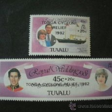 Sellos: TUVALU 1982 IVERT 172/3 *** EN FAVOR DEL CICLON EN TONGA - BODA REAL PRINCIPE CARLOS Y LADY DIANA. Lote 266922519