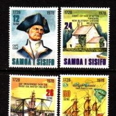 Sellos: SAMOA 432/35** - AÑO 1978 - BARCOS - 250º ANIVERSARIO DEL NACIMIENTO DEL CAPITAN COOK. Lote 131943430