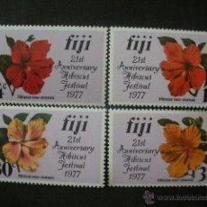 Sellos: FIJI 1977 IVERT 356/59*** 21º FESTIBAL DEL HIBISCO - FLORA - FLORES. Lote 40488029