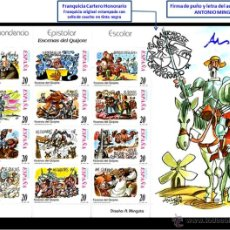 Sellos: ESPAÑA 1998 . 2 X 12 V . DON QUIJOTE . FIRMADO + FRANQUICIA DE ANTONIO MINGOTE. Lote 40122338
