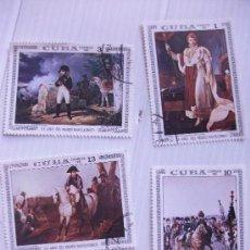 Sellos: LOTE DE 4 SELLOS DE CUBA: TEMA NAPOLEON, CUADROS .. Lote 42177820