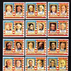 Sellos: GUINEA ECUATORIAL 68 Y AEREO 52** - AÑO 1975 - BICENT. DE LA INDEPENDENCIA DE ESTADOS UNIDOS. Lote 150645716