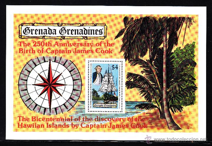 GRANADA GRANADINAS HB 40** - AÑO 1978 - BARCOS - 250º ANIVERSARIO DEL NACIMIENTO DEL CAPITAN COOK (Sellos - Temáticas - Historia)