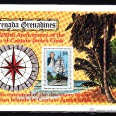 Sellos: GRANADA GRANADINAS HB 40** - AÑO 1978 - BARCOS - 250º ANIVERSARIO DEL NACIMIENTO DEL CAPITAN COOK. Lote 44827320