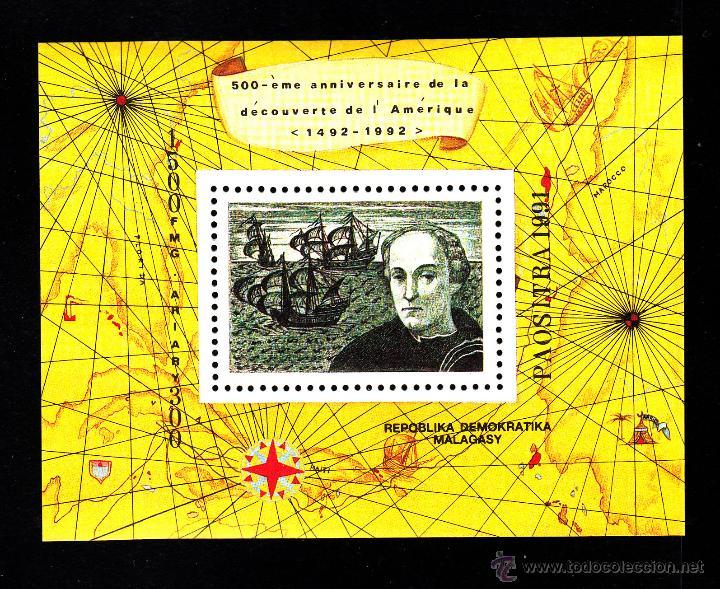 MADAGASCAR HB 71** - AÑO 1991 - 5º CENTENARIO DEL DESCUBRIMIENTO DE AMERICA - BARCOS (Sellos - Temáticas - Historia)