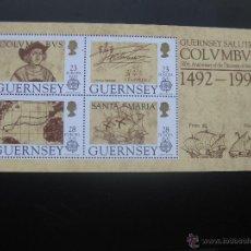 Sellos: GUERNSEY Nº YVERT HB 15 AÑO 1992 V CENTENARIO DESCUBRIMIENTO DE AMERICA. Lote 45723091