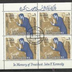 Sellos: HOJA BLOQUE EN MEMORIA DEL PRESIDENTE KENNEDY MATASELLADA CON GOMA ORIGINAL. Lote 45949390
