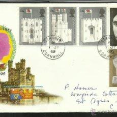 Timbres: GRAN BRETAÑA 1969 SOBRE PRIMER DIA CIRCULACION ARQUITECTURA BRITANICA- CASTILLOS- PRINCIPE GALES. Lote 47300792
