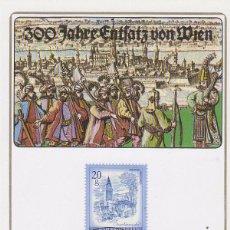 Sellos: AUSTRIA, 3º CENTENARIO DEL SITIO DE VIENA POR LOS TURCOS, MATASELLO DE 8-9-1983 EN TARJETA. Lote 64671095