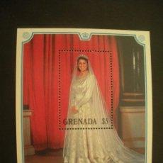 Sellos: GRANADA 1988 HB IVERT 190 *** 40º ANIVERSARIO BODA DE LA PAREJA REAL DE GRAN BRETAÑA - HISTORIA. Lote 50188955