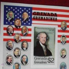 Sellos: GRANADA-GRANADINAS. HB 12 BICENTENARIO INDEPENDENCIA EE. UU. RETRATO GEORGE WASHINGTON**. 1976. SELL. Lote 53384540