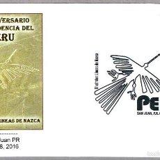 Sellos: 195 AÑOS INDEPENDENCIA DEL PERU - EL CONDOR - LINEAS DE NAZCA. SAN JUAN, PERTO RICO, 2016. Lote 58577446