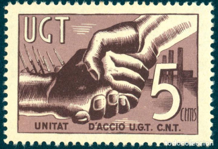 SELLO NUEVO, UGT, UNIDAT D'ACCIÓ U.G.T. , C.N.T. EDITADO EN TIEMPO DE GUERRA 1936 (Sellos - Temáticas - Historia)