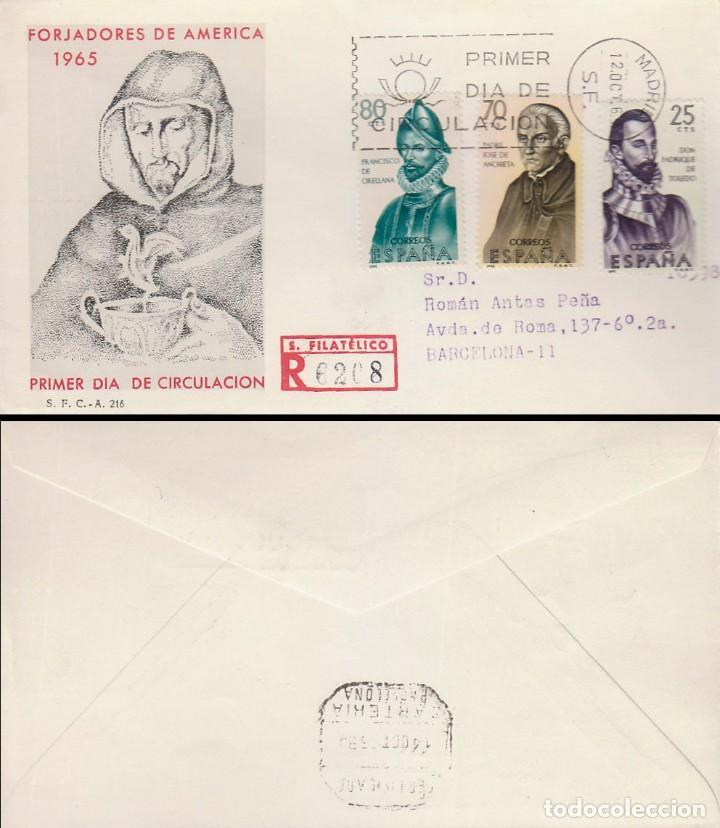 EDIFIL 1678/80, FORJADORES AMERICA 1965, PRIMER DIA 12-10-1965 SOBRE DEL SFC CIRCULADO(SERIE CORTA) (Sellos - Temáticas - Historia)