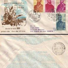 Sellos: EDIFIL 1301-2-4-5, FORJADORES DE AMERICA,, PRIMER DIA 12-10-1960 ALFIL CIRCULADO. Lote 80000269
