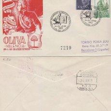 Sellos: AÑO 1960, OLIVA (VALENCIA), BICENTENARIO DEL ALMIRANTE CISCAR, SOBRE DE PANFILATELICAS CIRCULADO . Lote 115176475