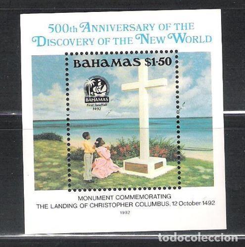 BAHAMAS 1992 HB IVERT 64 *** 500º ANIVERSARIO DESCUBRIMIENTO AMERICA POR CRISTOBAL COLON - MONUMENTO (Sellos - Temáticas - Historia)
