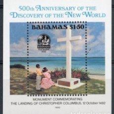 Sellos: BAHAMAS 1992 HB IVERT 64 *** 500º ANIVERSARIO DESCUBRIMIENTO AMERICA POR CRISTOBAL COLON - MONUMENTO. Lote 85735660