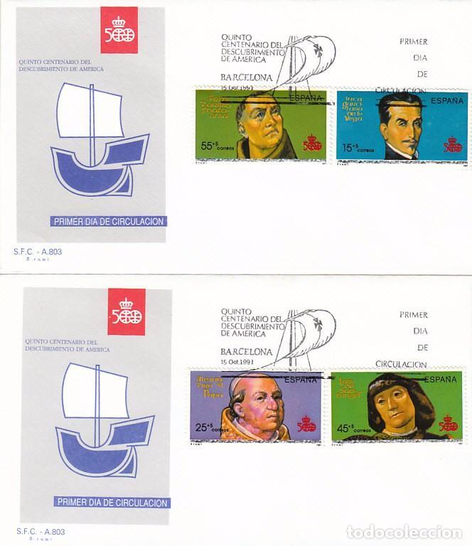 EDIFIL 3137/40, V CENTENARIO DEL DESCUBRIMIENTO DE AMERICA, PERSONAJES, PRIMER DIA DE 15-10-1991 SFC (Sellos - Temáticas - Historia)