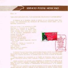 Sellos: MEJICO, 2º CENTENARIO DE FRANCISCO XAVIER MINA (OTANO, NAVARRA), PRIMER DIA 7-9-1989 HOJA. Lote 95135955