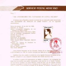 Sellos: MEJICO, CENTENARIO DE LEONA VICARIO, HEROINA DE LA GUERRA DE LA INDEPENDENCIA DE ESPAÑA, 20-4-1989. Lote 95294163