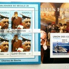 Sellos: CHARLES DE GAULLE 2 HOJAS BLOQUE DE SELLOS USADOS RECIENTES AUTÉNTICOS. Lote 95333234