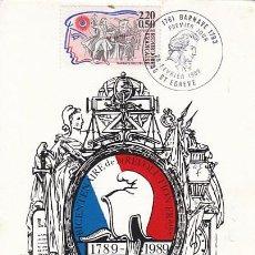 Sellos: FRANCIA IVERT 2568, BARNAVE, BICENTENARTIO DE LA REVOLUCIÓN FRANCESAS, TARJETA MAXIMA 26-2-1988. Lote 98569459