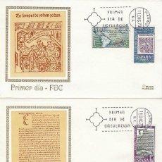 Sellos: EDIFIL 2164/6, V CENTENARIO DE LA IMPRENTA, PRIMER DIA DE 11-12-1973 EN 2 SOBRES DE MUNDO FILATELICO. Lote 109818231