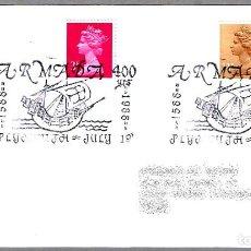Sellos: MATASELLOS 400 AÑOS ARMADA INVENCIBLE - SPANISH ARMADA - FELIPE II. PLYMOUTH, REINO UNIDO, 1988. Lote 110797063