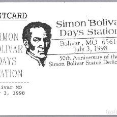 Sellos: MATASELLOS DIAS DE SIMON BOLIVAR. BOLIVAR MO, ESTADOS UNIDOS, 1998. Lote 111991511