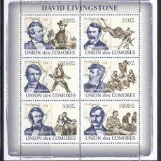 Sellos: COMORES 2009 IVERT 1363/8 *** PERSONAJES - DAVID LIVINGSTONE - EXPLORADOR BRITÁNICO. Lote 113671515