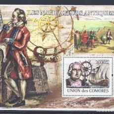 Sellos: COMORES 2009 HB IVERT 139 *** PERSONAJES - EXPLORADORES CÉLEBRES - CRISTOBAL COLON - HISTORIA. Lote 113692331