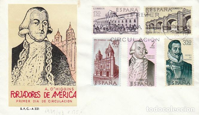 EDIFIL 1939/43, FORJADORES DE AMERICA, CHILE, PRIMER DIA DE 12-10-1969 EN DOS SOBRES DEL SFC (Sellos - Temáticas - Historia)