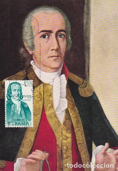 EDIFIL 1823, FORJADORES DE AMERICA ESTEBAN JOSÉ MARTINEZ, TARJETA MAXIMADE 12-10-1967 (Sellos - Temáticas - Historia)