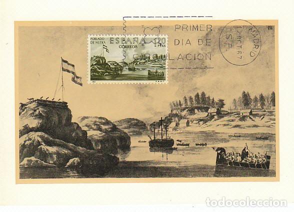 EDIFIL 1822, FORJADORES DE AMERICA, POBLADO DE NUTKA, TARJETA MAXIMADE 12-10-1967 (Sellos - Temáticas - Historia)